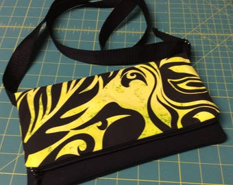 Crossbody bag, contemporary Hawaiian fabric