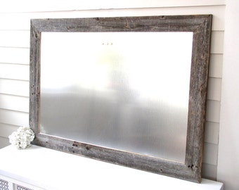 Barnwood Frame MAGNETIC Bulletin Board - Reclaimed Recycled Weathered Gray Rustic Barn Wood 29.5 x 41.5 Handmade Frame Modern Steel Surface