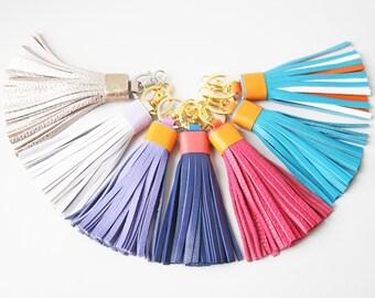 Leather tassel Keychain Bag charm Fringe keychain Bridesmaid Gift
