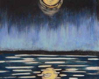 Réflexion originale monotype impression w/craie pastel