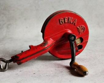 RESERVED FOR MELIH Vintage pencil sharpener, primitive office equipment, office tool, Geka sharpener, red metal tool