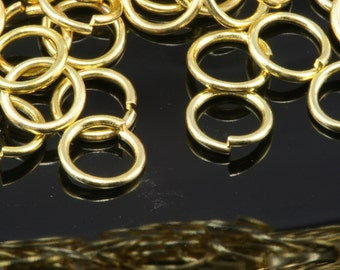 Open jump ring 6 mm 20 gauge( 0,8 mm ) raw brass (varnish) jumpring 620JV-22 1159V