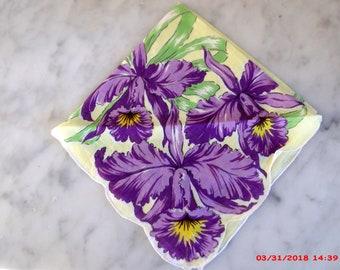 GORGEOUS Iris Vintage Handkerchief Hanky Mothers Day