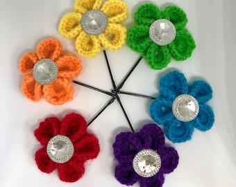 rainbow kanzashi flower hairpin set