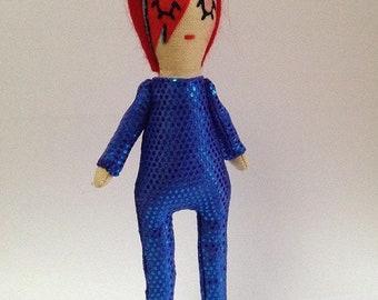 David Bowie/Ziggy Stardust/Aladdin Sane Icon Doll. Cloth Doll.