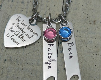 Personalized name necklace / hand stamped jewelry / Mommy necklace / personalized Mother necklace / Mother childs name birthstone necklace