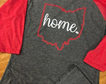 Women Ohio Home Shirt / Extended Sizes / XS-4XL / Baseball Tshirt / Unique Womens Gift / Ohio State / Buckeyes / OSU / State Shirt /football