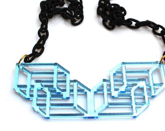 Sky Blue Geometric Necklace Laser Cut Mirrored Acrylic Perspex on Black Fabric Chain Statement Necklace