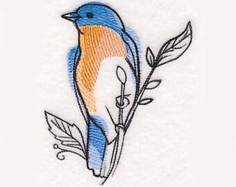 Bluebird in Watercolor Tea Towel   Bird Kitchen Towel   Embroidered Kitchen Towel   Personalized Kitchen   Bluebird Towel  Embroidered Towel