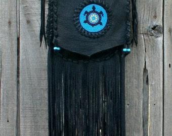 Black leather handbag , Fringed leather bag with Beaded turtle totem , Crossbody leather bag , Beaded turtle bag