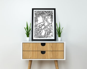 Overgrown Ink Drawing. A5, Original art, Fine art print, Organic art, Ink Illustration, Black and white art, Pen and Ink art, Surrealism