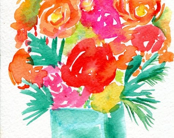Flowers watercolor painting Original, colorful art, original watercolor painting of flowers, floral art, small flowers