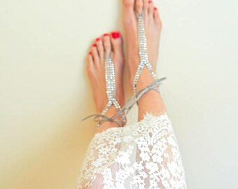 Silver rhinestone barefoot sandals, beach wedding bridal footless sandals, foot jewelry, boho bride, bridesmaid gift, foot jewelry