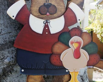"Male Pilgrim Thanksgiving Outfit - Wooden ""Seasonal Bear n Friends"" Outfit - Interchangeable Wood Outfit"