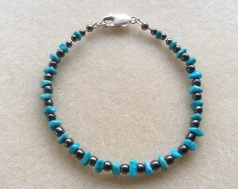 Turquoise and Hematite Anklet, Hematite Range, Vibrational Jewellery, Pyrite, Gemstones, Sterling Silver, Master Communicator, Stabilising