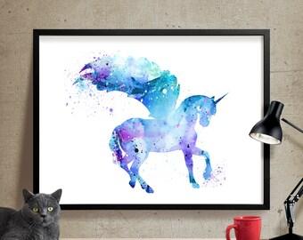 Unicorn Watercolor Print, Unicorn Art Print, Watercolor Art, Animal Watercolor, Unicorn Home Decor Wall Art, Unicorn Painting Print (171)