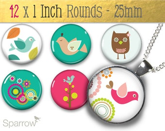 Birdie Party Collage Sheet - Digital Collage - 1x1 Inch (25mm) Round Pendant Images - Buy 2 Get 1 Free - Instant Download -Bottle Cap Images