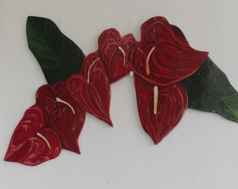 Hand Painted Wall decor, Anthurium flowers