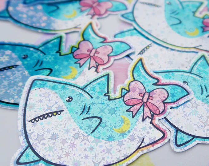 Kawaii Shark V2 Holographic Sticker