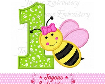 Instant Download Girl Bee Number 1 Applique Embroidery Design NO:1721