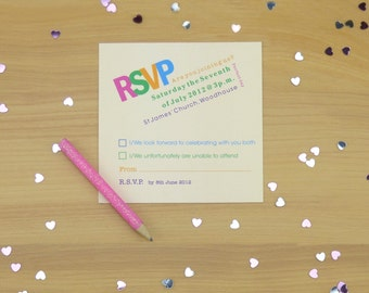 Bright and Bold Personalised Wedding RSVP