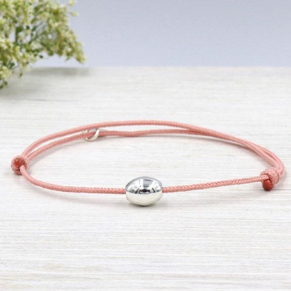 cord bracelet choose 925 Sterling Silver Oval bead
