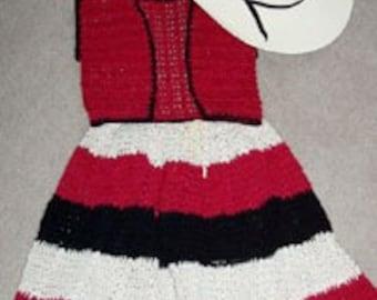 Toddlers Western Full Skirt and Vest Crochet Pattern PDF