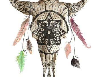 Mandala White Buffalo Print