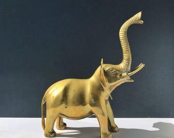 Large Brass Elephant Figurine - Safari Animal Detailed Brass Statue / Brass Decor / Brass Animals / Bookshelf Brass