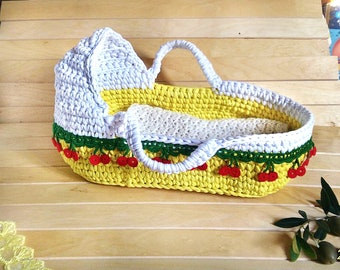 Crochet doll cradle doll bed doll basket handmade cradle crib for doll toy cradle gift for a girl doll accessories
