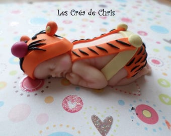 baby tiger striped polymer clay fimo.