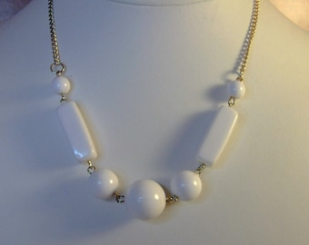 Geometric White Lucite Necklace      15 Inch       Bridal Jewelry