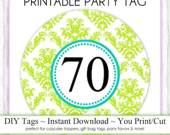 Instant Download - Party Printable Tag, Green Damask Party, 70th Birthday Party Tag, DIY Cupcake Topper, You Print, You Cut, DIY Party Tag