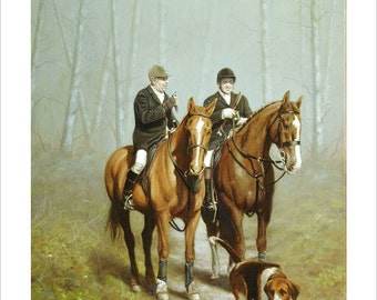 Hunting Scene. Limited Edition Equestrian Print. Personally signed and numbered by award Winning Professional artist JOHN SILVER. jsfa017