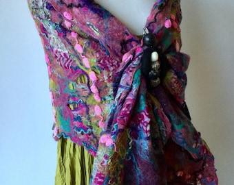 Nuno Felted scarf - wool silk -purple lilac pink jade green blue - shawl wrap scarf - cobweb nuno  felted wool - fiber art to wear lagenlook
