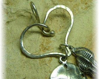 Heart Shaped Charm Holder for Your Own Charms - Sterling Silver Thick Organic- Choose Your Finish - Handmade to Order