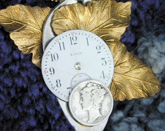 Repurposed Spoon and watchface steampunk pendant necklace - OOAK