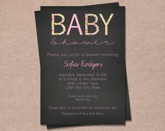 Baby Shower Invitation - Baby Shower Chalkboard Invitation - Chalkboard Invitation - Baby Shower - Printable Invitation - Printable DIY