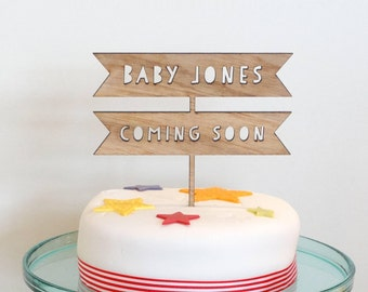 Personalised baby shower cake topper, wooden cake topper, baby shower cake topper, baby shower cake topper, rustic cake decoration
