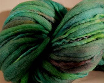 "Yarn Handspun Alpaca and Wool Thick and Thin Super Bulky  90 Yards Turqoise Green Hand Dyed  "" Circus  "" Doll Hair Knitting Supply"