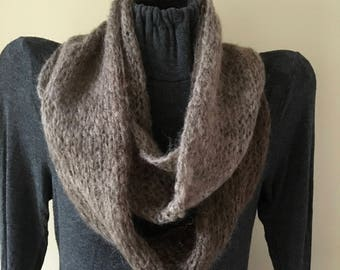 WINTER SALE--Hand Knit Infinity Scarf, Hombre, Mohair Blend, Browns and Tans
