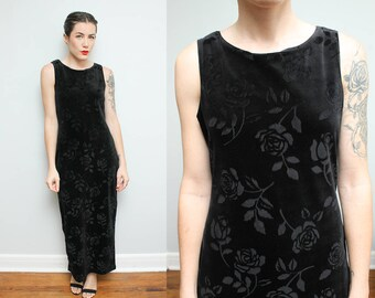 90s Black Velvet Dress // Sheer Floral Print Maxi Dress // Rose Print Scoop Neck Back Slit Tank Top Bodycon Dress Size Large