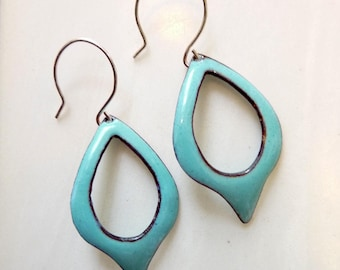 Glass Enamel on Copper Earrings,  Cut Out Teardrop Hoop, Mid-Century Modern Leaf, Sterling or Copper Ear Wires, Speardrop Earrings