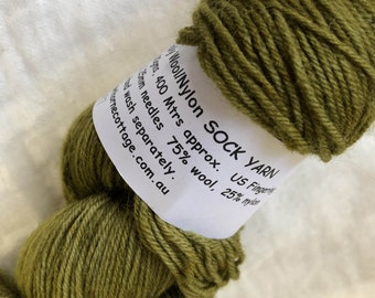 Olive Green Hand Dyed 4ply Sock Wool/Nylon Yarn 100gms 400 Metres