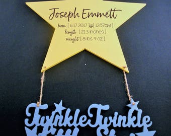 Twinkle Twinkle Baby Birth Announcement Wall Hanging