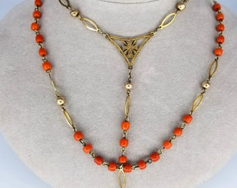 1800s French 18k Gold and Coral Rosary