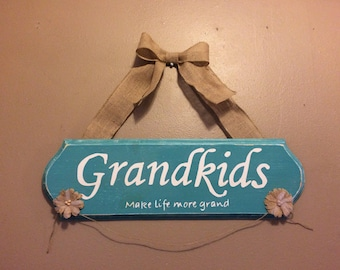 Grandkids-make life more grand, routered edge wood sign