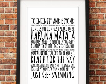 Disney Quotes - Jpeg - A4 + Letter + 8x10 - INSTANT DOWNLOAD - Digital Print - Wall Art - Printable Poster