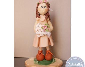 Cake topper / Heart cake topper handmade / cold porcelain / baby girl / 1 st Birthday cake topper / Hand made cake topper / Polymer clay