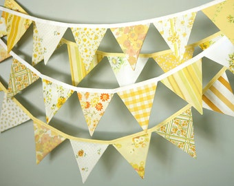 Sunny Yellow Bunting / Yellow Pennant Flag Garland / Party Decoration / Vintage Nursery / Gender Neutral Baby Shower / Yellow Nursery Decor